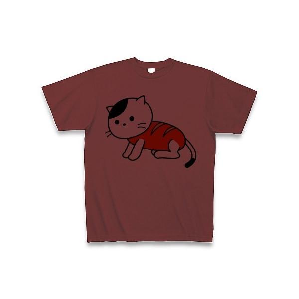 「猫さんウインナー」ねこ Tシャツ(バーガンディ)