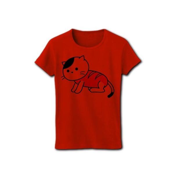 「猫さんウインナー」ねこ リブクルーネックTシャツ(レッド)