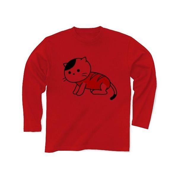 「猫さんウインナー」ねこ 長袖Tシャツ(レッド)