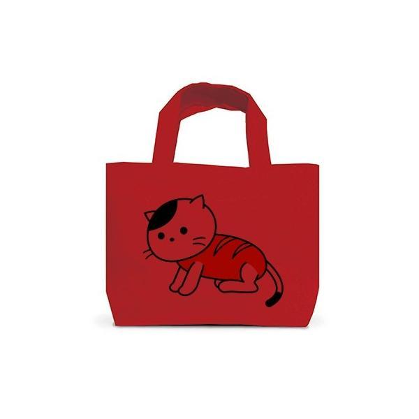 「猫さんウインナー」ねこ トートバッグS(レッド)