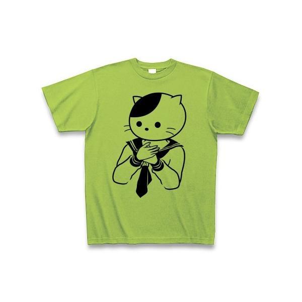 女子中学生はまだ子猫 Tシャツ(ライム)