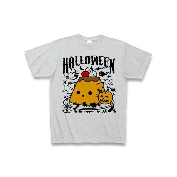 かぼちゃプリンねこのハロウィンパーティー Tシャツ(グレー)