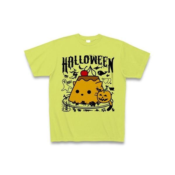 かぼちゃプリンねこのハロウィンパーティー Tシャツ(ライトグリーン)