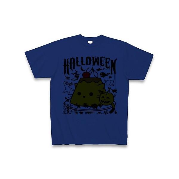 かぼちゃプリンねこのハロウィンパーティー Tシャツ(ロイヤルブルー)