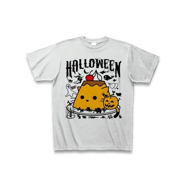 かぼちゃプリンねこのハロウィンパーティー Tシャツ(アッシュ)