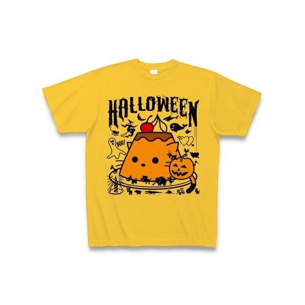 かぼちゃプリンねこのハロウィンパーティー Tシャツ(ゴールドイエロー)