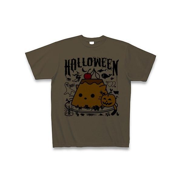 かぼちゃプリンねこのハロウィンパーティー Tシャツ(オリーブ)