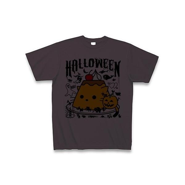 かぼちゃプリンねこのハロウィンパーティー Tシャツ(チャコール)