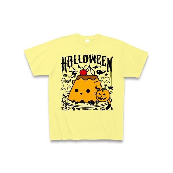 かぼちゃプリンねこのハロウィンパーティー Tシャツ(ライトイエロー)