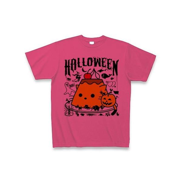 かぼちゃプリンねこのハロウィンパーティー Tシャツ(ホットピンク)