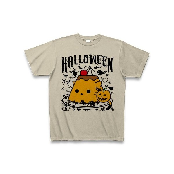 かぼちゃプリンねこのハロウィンパーティー Tシャツ(シルバーグレー)
