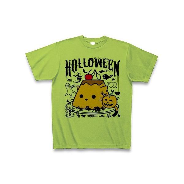 かぼちゃプリンねこのハロウィンパーティー Tシャツ(ライム)