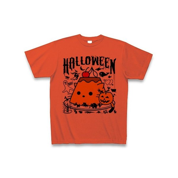 かぼちゃプリンねこのハロウィンパーティー Tシャツ(イタリアンレッド)
