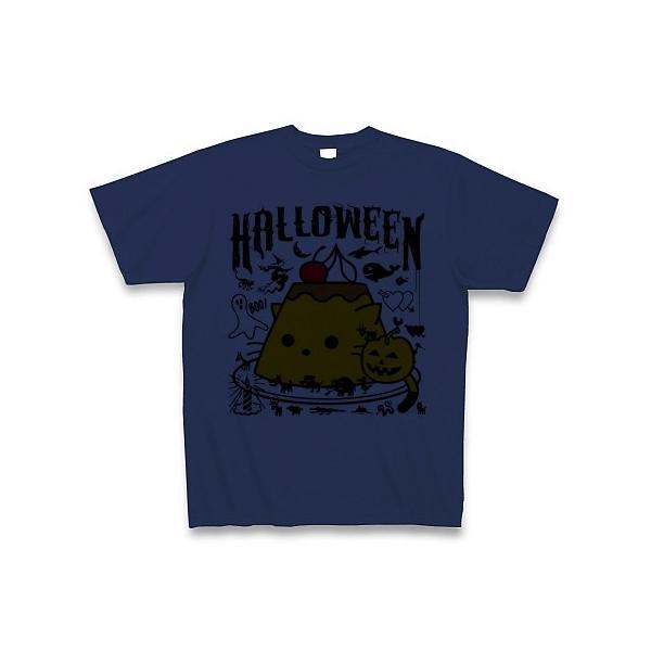 かぼちゃプリンねこのハロウィンパーティー Tシャツ(ジャパンブルー)