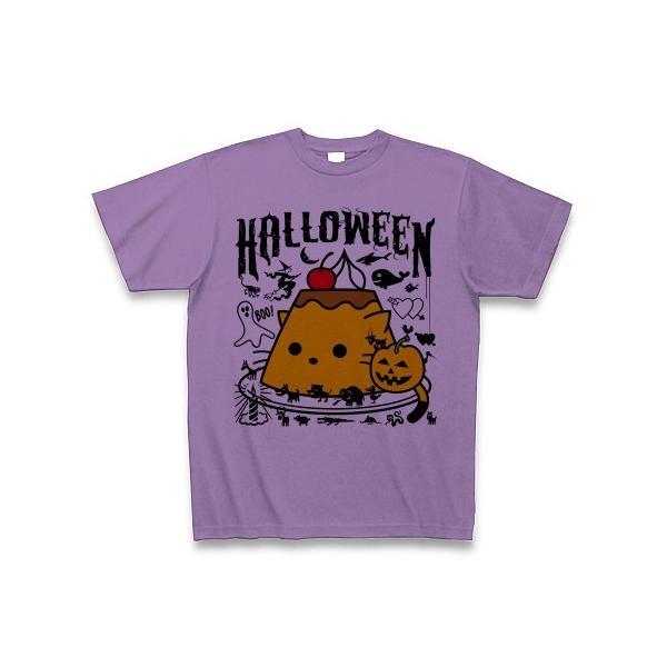 かぼちゃプリンねこのハロウィンパーティー Tシャツ(ライトパープル)