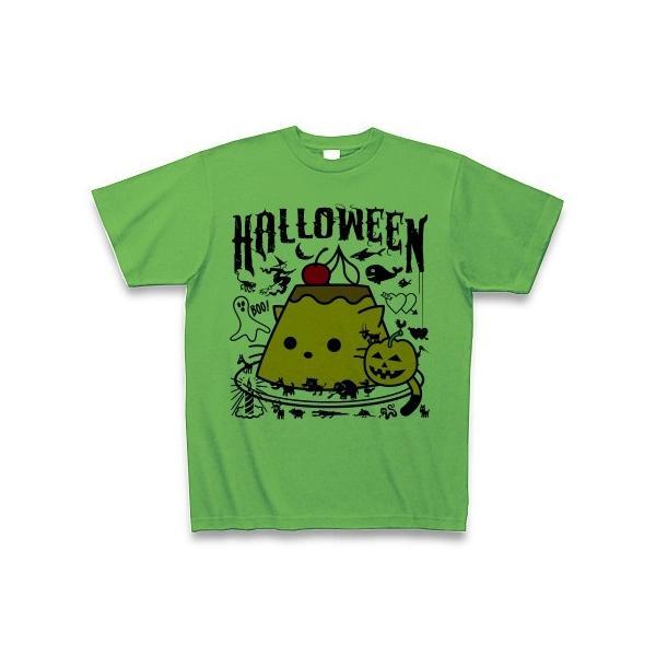 かぼちゃプリンねこのハロウィンパーティー Tシャツ(ブライトグリーン)