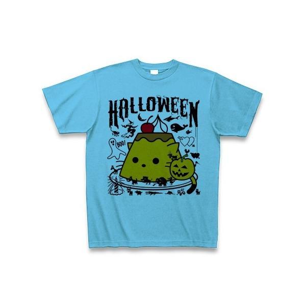 かぼちゃプリンねこのハロウィンパーティー Tシャツ(シーブルー)