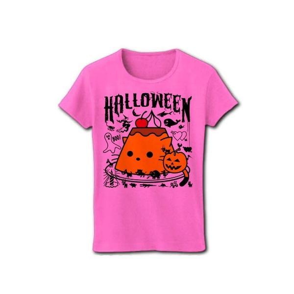 かぼちゃプリンねこのハロウィンパーティー リブクルーネックTシャツ(ピンク)