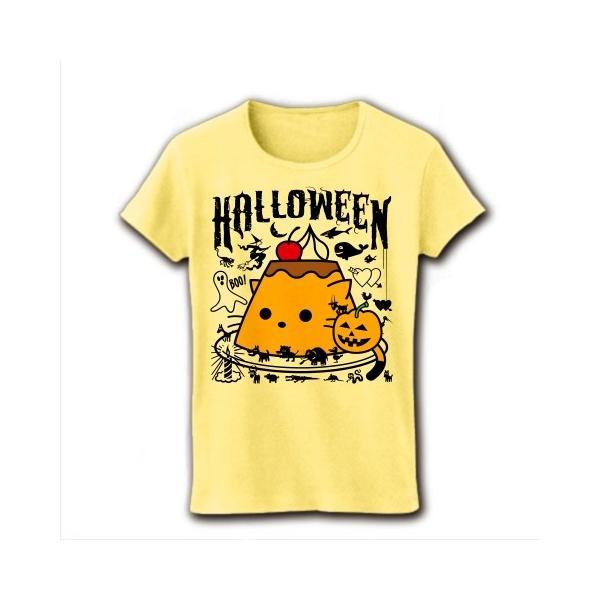 かぼちゃプリンねこのハロウィンパーティー リブクルーネックTシャツ(ライトイエロー)