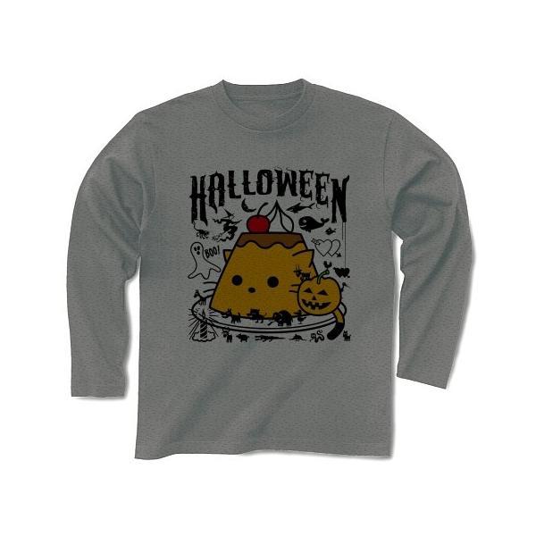 かぼちゃプリンねこのハロウィンパーティー 長袖Tシャツ(グレー)