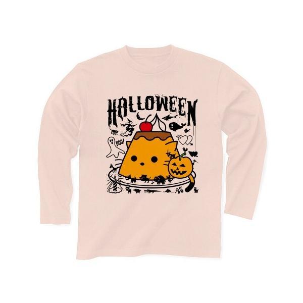 かぼちゃプリンねこのハロウィンパーティー 長袖Tシャツ(ライトピンク)