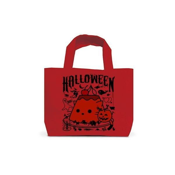 かぼちゃプリンねこのハロウィンパーティー トートバッグS(レッド)