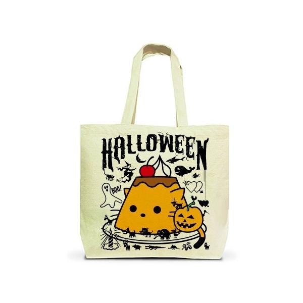 かぼちゃプリンねこのハロウィンパーティー トートバッグL(ナチュラル)