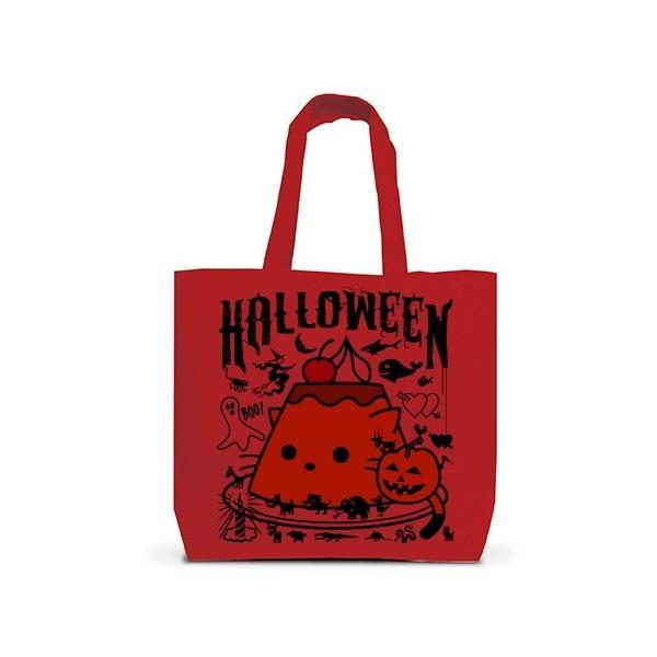 かぼちゃプリンねこのハロウィンパーティー トートバッグL(レッド)