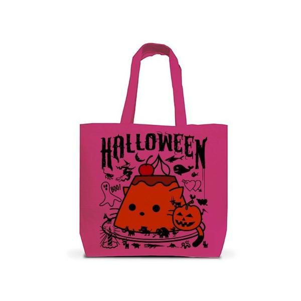 かぼちゃプリンねこのハロウィンパーティー トートバッグL(ホットピンク)