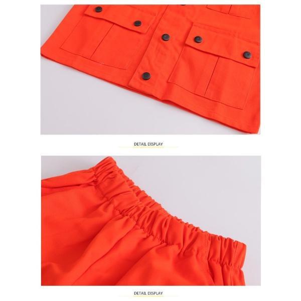 オレンジ キッズ ダンス衣装 ヒップホップ セットアップ HIPHOP 男の子 女の子 秋 男女兼用 ジャズダンス シャツ ダンストップス ダンスパンツ 練習着 18xh88 co-tyiya 13