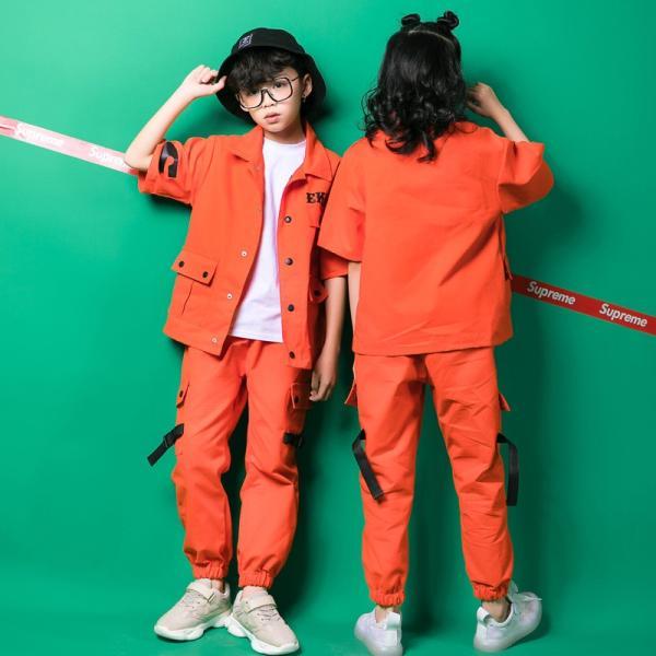 オレンジ キッズ ダンス衣装 ヒップホップ セットアップ HIPHOP 男の子 女の子 秋 男女兼用 ジャズダンス シャツ ダンストップス ダンスパンツ 練習着 18xh88 co-tyiya 03