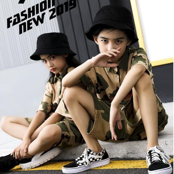 ダンス衣装 ヒップホップ HIPHOP セットアップ 迷彩 キッズ 子供 大人 レディース メンズ ダンス 迷彩パンツ ズボン Tシャツ 練習着 ジャズダンス ウエア|co-tyiya