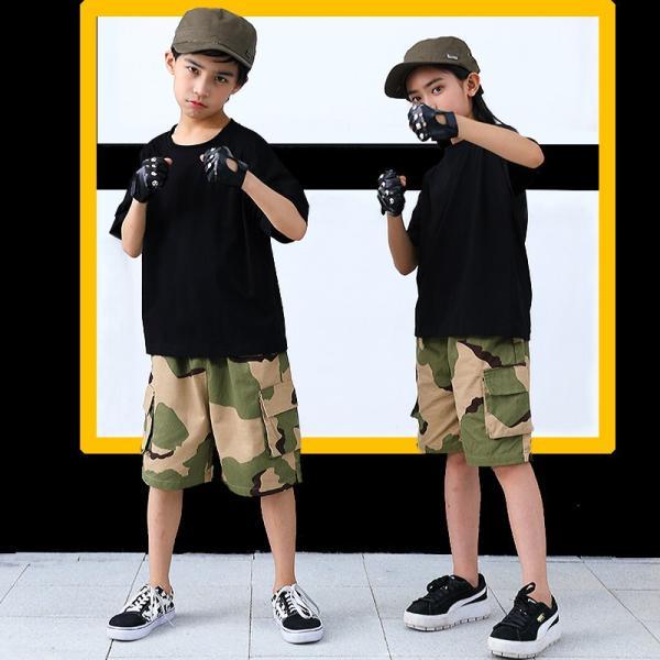 ダンス衣装 ヒップホップ HIPHOP セットアップ 迷彩 キッズ 子供 大人 レディース メンズ ダンス 迷彩パンツ ズボン Tシャツ 練習着 ジャズダンス ウエア|co-tyiya|04