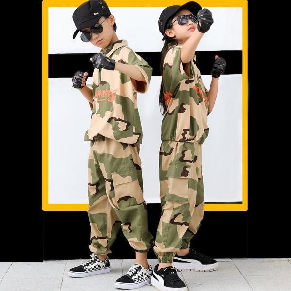 ダンス衣装 ヒップホップ HIPHOP セットアップ 迷彩 キッズ 子供 大人 レディース メンズ ダンス 迷彩パンツ ズボン Tシャツ 練習着 ジャズダンス ウエア|co-tyiya|05
