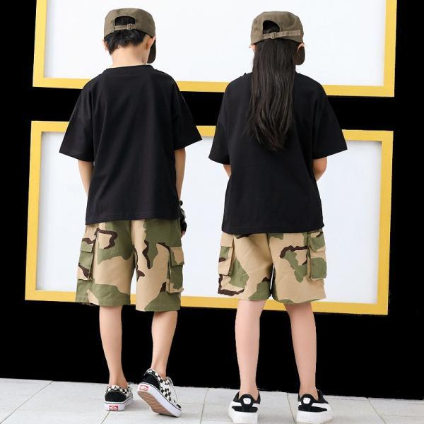 ダンス衣装 ヒップホップ HIPHOP セットアップ 迷彩 キッズ 子供 大人 レディース メンズ ダンス 迷彩パンツ ズボン Tシャツ 練習着 ジャズダンス ウエア|co-tyiya|08