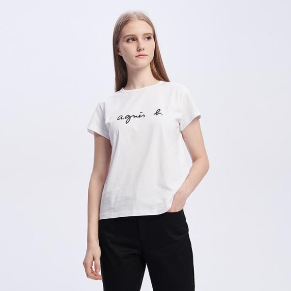 アニエスベー レディース Tシャツ 半袖 カットソー ロゴTシャツ コットン100% agnes b. ブラック ホワイト ネイビー 並行輸入品 ショッパー付き! cobalt-shop 07