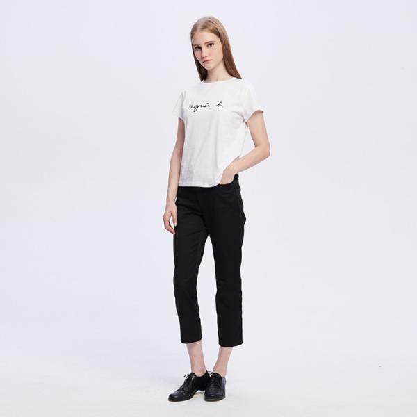 アニエスベー レディース Tシャツ 半袖 カットソー ロゴTシャツ コットン100% agnes b. ブラック ホワイト ネイビー 並行輸入品 ショッパー付き! cobalt-shop 08