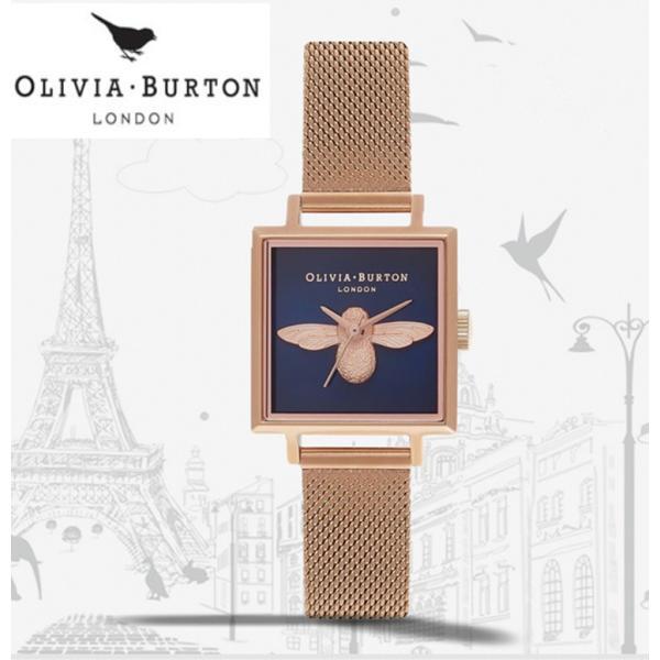 Olivia Burton レディース SQUARE DIAL 3D BEE  6COLOR腕時計 ステンレス ステンレスバンド ステンレススチール ウォッチ保証期間 1年間