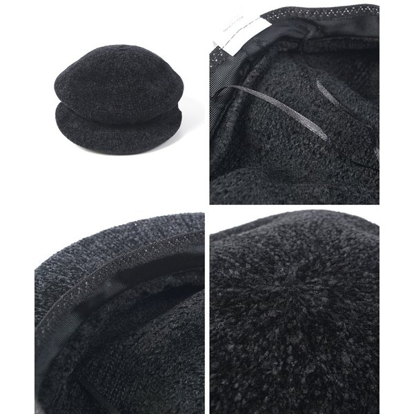 キャスケット モールニット 帽子 ぼうし ニット帽 シンプル  ハット ベージュ ブラック 18aw メール便可|cocacoca|02