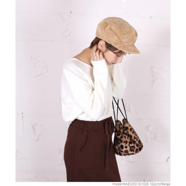 キャスケット モールニット 帽子 ぼうし ニット帽 シンプル  ハット ベージュ ブラック 18aw メール便可|cocacoca|04