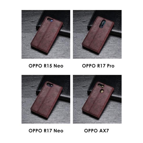 OPPO R17 Pro R15 Neo R17 Neo AX7 ケース オッポ  手帳型 レザー おしゃれ ケース CASE 持ちやすい 汚|coco-fit2018|08