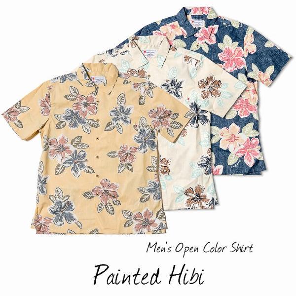 メンズ アロハシャツココナッツジュース シャツ  Painted Hibi 全3色  オープンカラーシャツ 半袖 3L4L5L 大きいサイズあり メール便利用で送料無料|coco-j|06