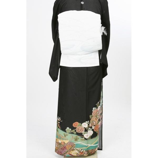 レンタル衣裳 夏用  着物 扇面流模様絽黒留袖 L寸 7.8月 夏用絽留袖 フルセット 留袖 絽 紗帯 結婚式 往復送料無料|coco-uu-renntaru|03