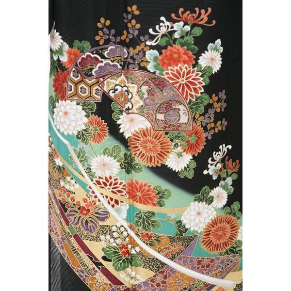 レンタル衣裳 夏用  着物 扇面流模様絽黒留袖 L寸 7.8月 夏用絽留袖 フルセット 留袖 絽 紗帯 結婚式 往復送料無料|coco-uu-renntaru|04