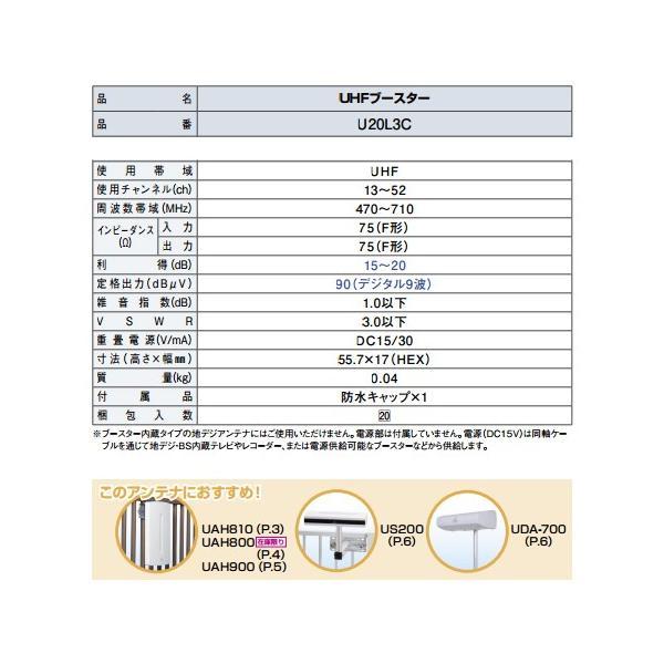 DXアンテナ 20dB型 UHFブースター 屋外用 U20L3C