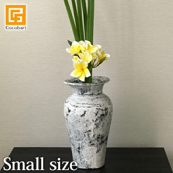 Flower Vase (Terracotta) Antique wash (Small size) シャビーシック アンティーク ビンテージ テラコッタ 植木鉢 白い バリ雑貨 インテリア ココバリ|cocobari
