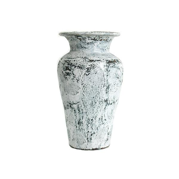Flower Vase (Terracotta) Antique wash (Small size) シャビーシック アンティーク ビンテージ テラコッタ 植木鉢 白い バリ雑貨 インテリア ココバリ|cocobari|02