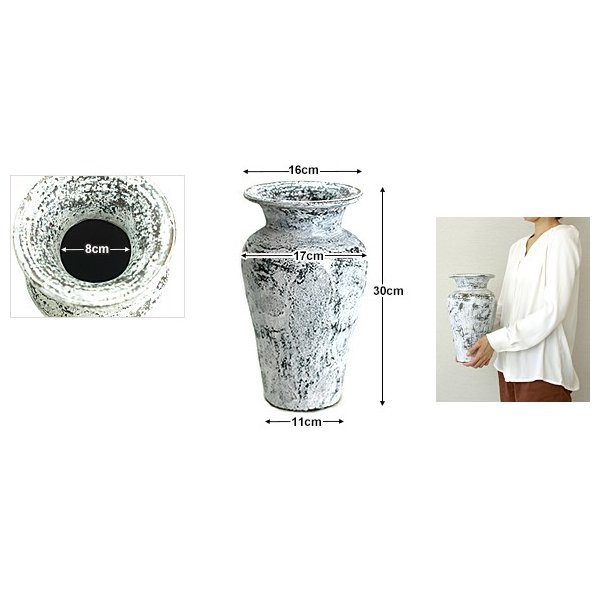 Flower Vase (Terracotta) Antique wash (Small size) シャビーシック アンティーク ビンテージ テラコッタ 植木鉢 白い バリ雑貨 インテリア ココバリ|cocobari|06
