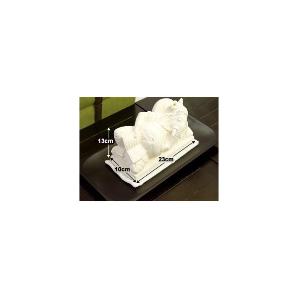 ガネーシャ(寝そべり) 頭飾り用ミニプルメリア1個と専用マット付き   置物 石像 ストーン インド 神様 バリ雑貨 インテリア ココバリ cocobari 08