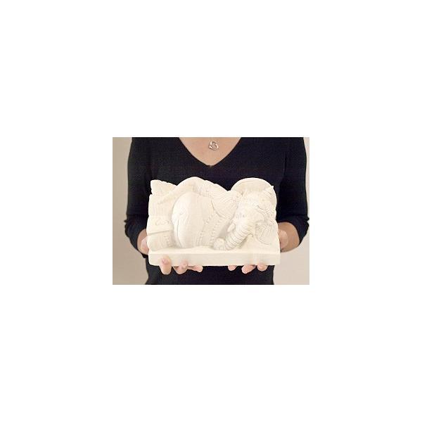 ガネーシャ(寝そべり) 頭飾り用ミニプルメリア1個と専用マット付き   置物 石像 ストーン インド 神様 バリ雑貨 インテリア ココバリ cocobari 09